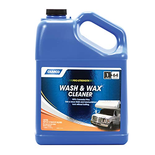 camco rv waxes Camco Wash & Wax Cleaner for RVs, Trailers, and Vehicles - Contains 100% Carnauba Wax |Provides a Clean Shiny Finish without Buffing| Waterproof Resistant Beading Action - 1 Gallon (40498)