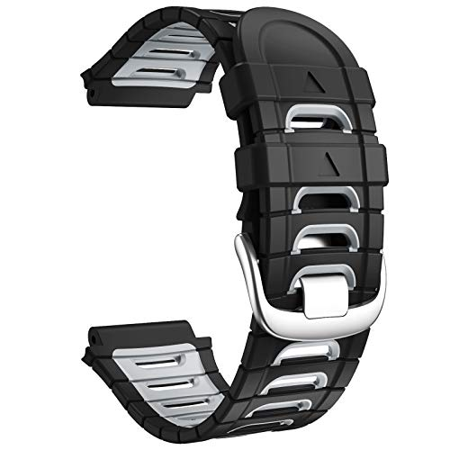 ANCOOL Compatible with Garmin Forerunner 920XT Bands Soft Sport Watch Band Replacement for Forerunner 920XT Smartwatch, Black/Grey