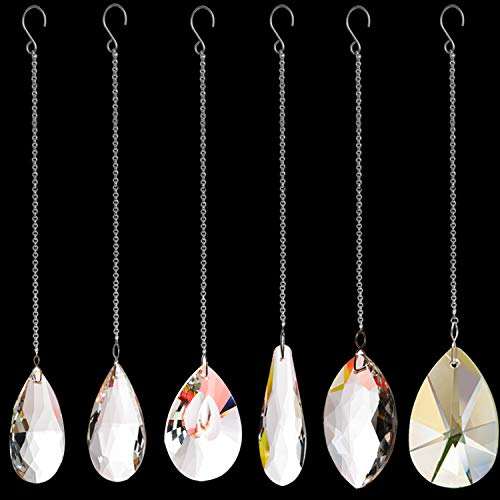 Togetherlife 6 Pack Clear Crystal Suncatcher Prism Pendant Rainbow Maker Hanging Suncatchers with Chain Window Sun Catcher for Christmas Wedding