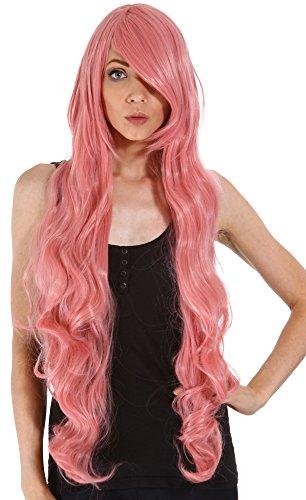 Simplicity Cosplay 40 Long Pink Curly Hair Wig + Free Wig Cap, Long Pink