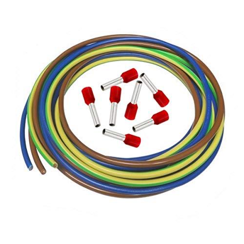 Xenterio Zählerschrank-Verdrahtungssatz, 3X 3m Kabel 10mm² (bn/bl/gn-ge), 50 Aderendhülsen mit Kunststoffkragen