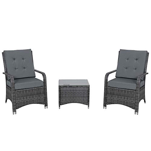 Outsunny Rattan Garden Furniture 3 PCs Sofa Chair Table Bistro Set Wicker Weave Outdoor Patio Conservatory Set w/ Cover Steel Frame, Grey