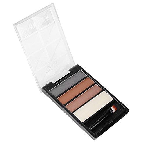 Colcolo Kit D'ombrage et Pinceau de Maquillage Cosmétique de Palette de Sourcils de Poudre de Sourcil de 4 Couleurs