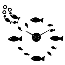 N /A Wall Clock Digital Fish with Bubble DIY Giant Wall Clock Mirror Effect Wall Art Home Decor Aquarium Decoration Frameless Big Needle Clock Watch Suitable for Shop Kitchen