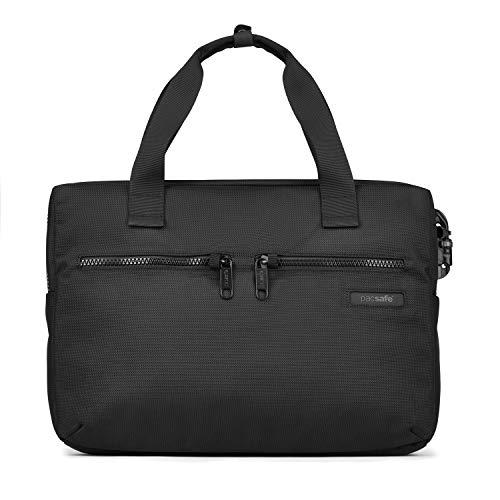 Pacsafe Intasafe Slim Briefcase, schmale Aktentasche mit Anti-Diebstahl Details für Damen und Herren, Bürotasche mit Diebstahlschutz, Tasche mit Sicherheits-Features, 12L, Schwarz/Black