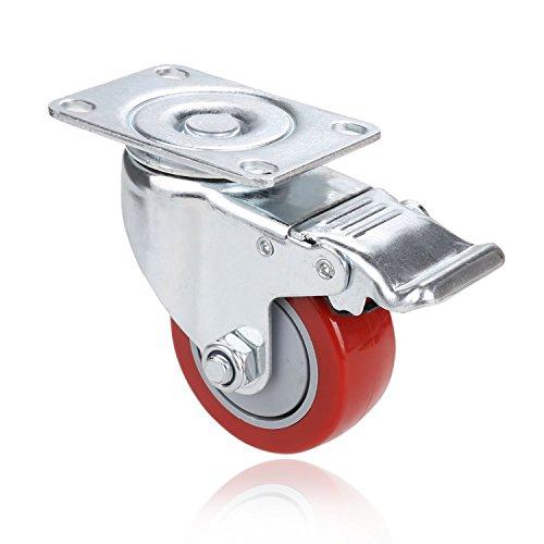 419nRHWrlCL. SL500  - Set de 4 Ruedas Giratorias con Freno, 75mm Diámetro Industriales Ruedas para Muebles, Capacidad de carga máxima 1200 lbs (Rojo) (Rojo y plata)