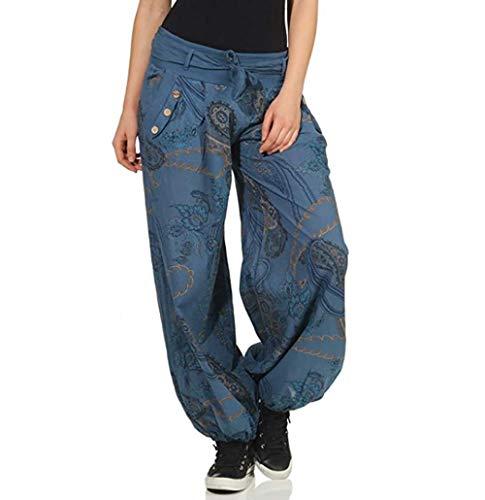 Shujin Pantalones bombachos para mujer, estilo harén, para verano, boho, largos, holgados, de tela, ligeros, para globos, para yoga, con cinturón azul L