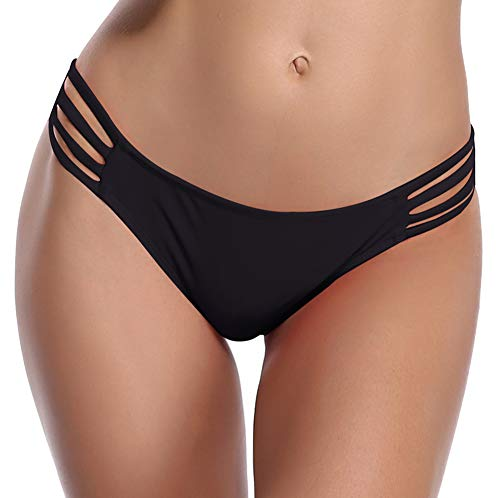 SHEKINI Damen Bikini Set Elegant Neckholder Gepolstert Bandage Bikini Raffung Push up Oberteil Bikinihose Bademode Badeanzüge (L, Bikinihose-Schwarz)