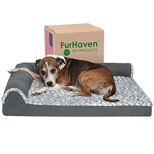 Furhaven Orthopedic Pet Bed for Dogs and Cats - L Chaise Sofa Two-Tone Plush Fur and Suede Couch Dog Bed with Removable Washable Cover, Stone Gray, Large