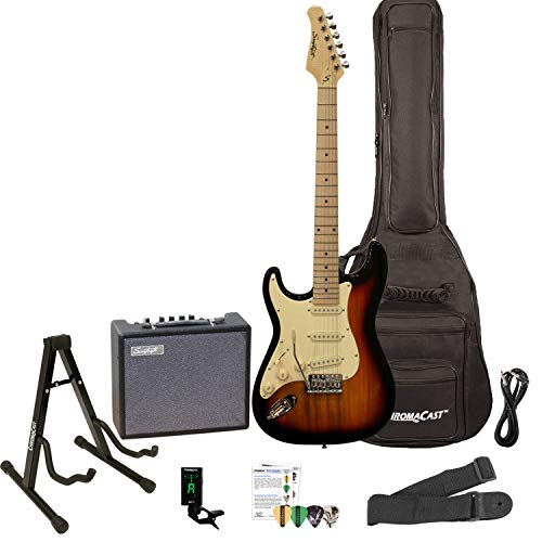 Sawtooth Left Handed ST Style Electric Guitar Sunburst w/Vintage White Pickguard with Lesson, ChromaCast Gig Bag, Stand, Pro Series Cable, Pick Sampler, Tuner, Strap, Sawtooth Amp