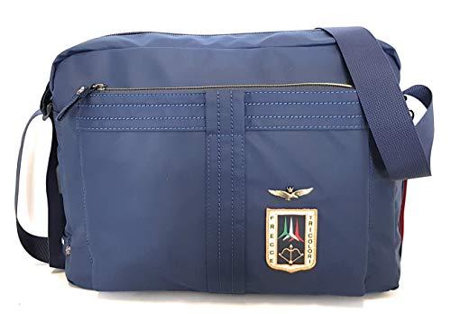 dielle manifatture srl Aeronautica Militare Line Arrow Messenger Bag in Rubber Technical Fabric Blue AM-343 37x28x11 cm