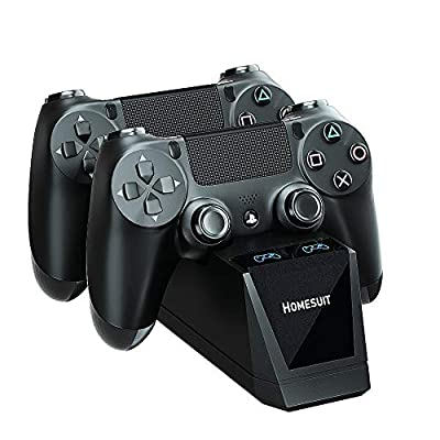 Controller Charger for PS4, Homesuit Dual Shock USB Charger Charging Docking Station Stand for Sony Playstation 4 PS4/PS4 Slim/PS4 Pro Controller, Black
