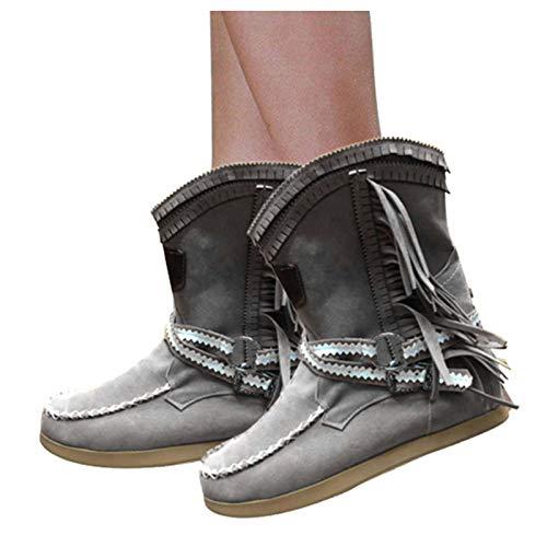 Winsummer Womens Tassel Bootie Fringe Hidden Wedge Heel Ankle Boots Western Cowgirl Closed Toe Bootie Gray