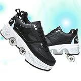 TAOXUE Patines De Ruedas Retráctiles Zapatos de Polea Deformación para Mujeres Zapatos para Caminar Automáticos Ajustables Zapatos Deportivos para Exteriores