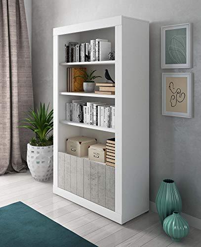 Mobile Contenitore Alto Libreria Moderna, Bianco e Cemento Soggiorno Ante Cemento Madia Buffet con sportelli Design moderno