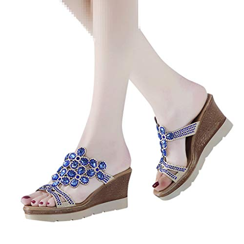 Sale!! Dainzuy Women Wedge Sandals Summer Peep Toe Breathable Beach Sandals Rhinestone Slip-On Platf...