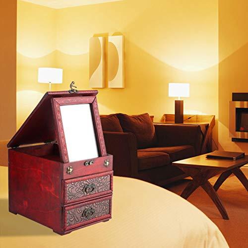 Caja de almacenamiento de joyas Caja de almacenamiento Caja de almacenamiento retro Conveniente 9.1x6.3x7.1in para joyas Collares Pulseras Relojes con espejo de regalo(8023b-grass flower)