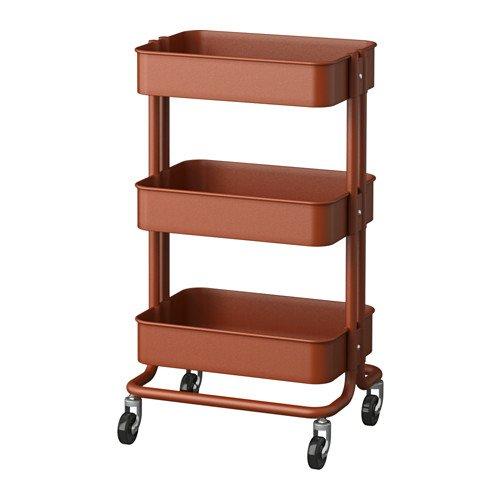 Ikea RASKOG - Carrito de cocina (35 x 45 x 78 cm), color rojo y marrón