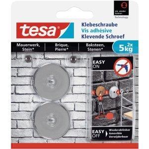 Tesa - 6 x redondos adhesivos para mampostería y piedra (5 kg), color plateado