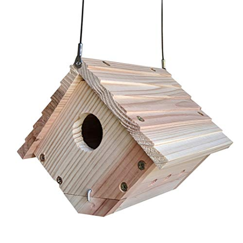 Gray Bunny Traditional Wren House for Outdoor Hanging, Natural Wooden...