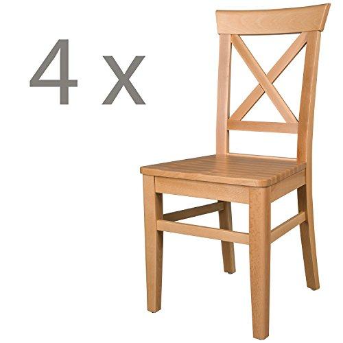 Schwarzwald Massivholz Esszimmerstuhl ST24 Anastasia Holzstuhl belastbar bis 150 kg Gastro Qualität in 3 Farben (4 Stühle, Buche Naturlackiert)