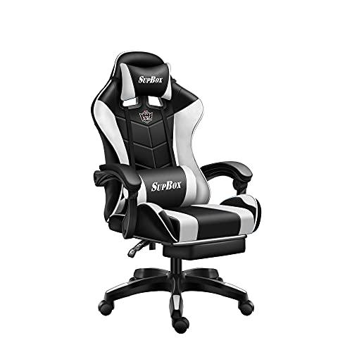 SupBnn ゲーミングチェア 座椅子 オフィスチェア ゲーミング座椅子 デスクチェア ゲーム用チェア PUレザー ハイバック ヘッドレスト ランバーサポート 高さ調整機能 人間工学に基づいた3D設計 SGS認証取得済み (黒と白)