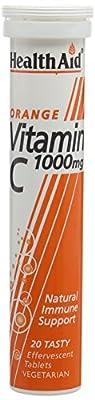 HealthAid Vitamin C Orange Flavour Vegetarian Effervescent 1000mg 20 Tablets, Pack of 3