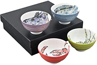 "Authentic Japanese Porcelain Multi Purpose Bowl Set of 4 Japanese Seafood Crab Lobster Pufferfish Flounder Assorted Colors Design Set Made In Japan (4.25"" x 2.5"" Small Rice Bowl)"
