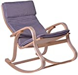 PEGANE Rocking Chair en Bouleau Coloris Gris - Dim : H.97 x L.65 x P.87 cm