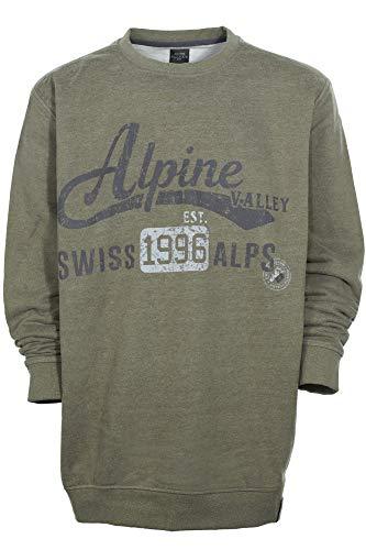 Kitaro Sweatshirt Shirt Pulli Herren Baumwolle Rundhals Extra Lang Tall, Farbe:braun, Herrengrößen:LT