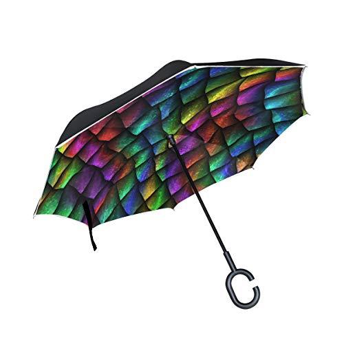 MNSRUU umgekehrte Regenschirme, Drachen-Waage, doppellagig, faltbar, Winddicht, UV-Schutz, Winddicht, Reise-Regenschirm für Damen und Herren