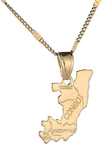 Zaaqio Collar La República del Congo Republique Map Collares Pendientes Color Oro Congo Charmmap Jewelry