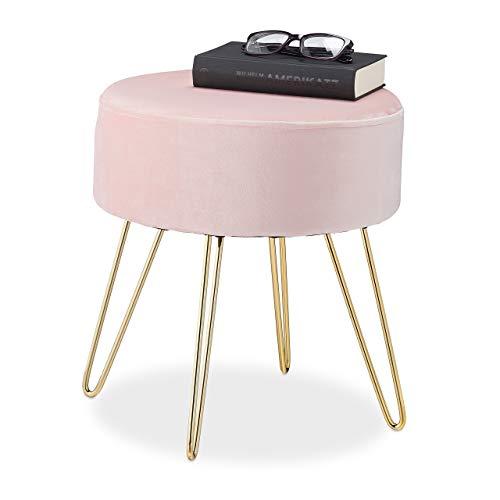 Relaxdays – Taburete de Terciopelo Redondo, Elegante Taburete Acolchado, Patas de Metal Dorado, Moderno, Asiento de Terciopelo, 40 x 40 cm, Color Rosa