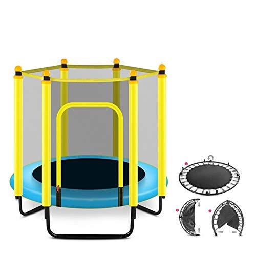 WXL Trampolín trampolín para niños en interiores y exteriores, pequeño trampolín recreativo con aro de baloncesto y caja de seguridad para niños pequeños (color: azul)
