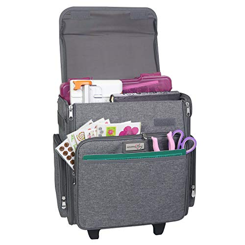 Everything Mary Collapsible Rolling Craft Bag, Heather - Tote with Wheels for Scrapbook & Art Storage - Organizer Case for IRIS Boxes, Supplies, and Accessories - for Teachers & Medical