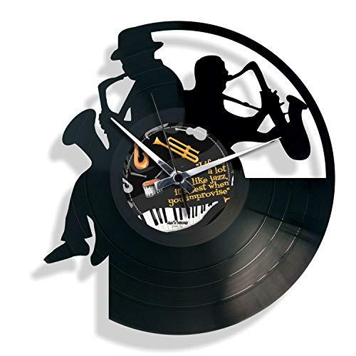 DISCOCLOCK - DOC052 - Sax - Wanduhr aus Vinyl Schallplattenuhr mit Jazz Blues Saxophonist Motiv Upcycling Design Uhr Wand-Deko Vintage-Uhr Retro-Uhr Made IN Italy 24 Uhr!