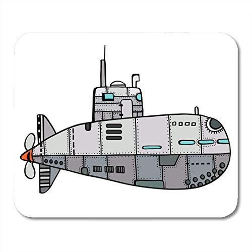 Gaming Mouse Pad Aluminium Farbige Doodle Skizze Der Alten U-Boot-Boot Bolzen Cartoon Rechteck Mausmatte Rutschfeste Gummibasis Mousepads Für Computer, Laptop