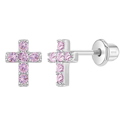 925 Sterling Silver Petite Cross Shaped Pink Cubic Zirconia Stud Earrings with Safety Screw Back Perfect for Toddlers, Young girls, Pre-Teens & Teens