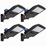 LED Parking Lot Lights 19500LM - [500W HID/HPS Replacement] Adjustable LED Shoebox Street Pole with Dusk to Dawn Photocell Slip Fitter Commercial Area Yard Lighting 5000K 150W 4 Pack