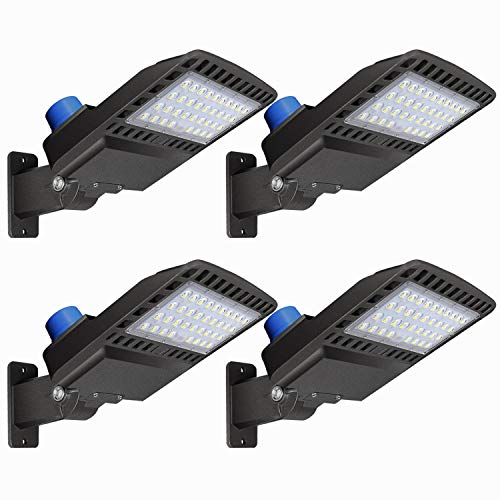 LEDMO LED Parking Lot Lights 19500LM - [500W HID/HPS Replacement] Adjustable LED Shoebox Street Pole with Dusk to Dawn Photocell Slip Fitter Commercial Area Yard Lighting 5000K 150W 4 Pack