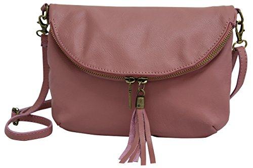 AMBRA Moda Italienische Ledertasche Schultertasche Crossover Umhängetasche Nappaleder Damen Kleine Tasche NL609 (Altrosa)