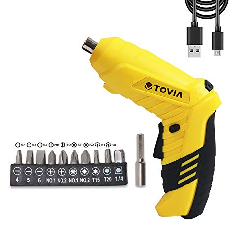 T TOVIA Cordless Electric Screwdriver, 3.6V MAX Rechargeable Power Screw Guns (Yellow)