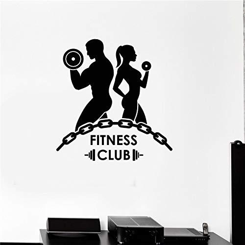 Dwzfme Pegatinas de Pared Adhesivos Pared Fitness Vinilo Fitness Club Culturismo Gimnasio Motivación Deportes Mural Decoración de la Pared 78x82cm