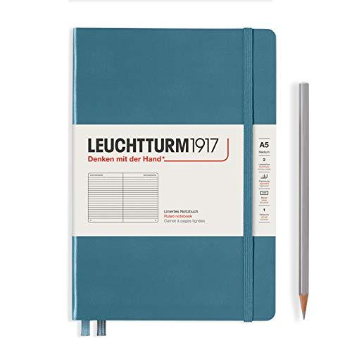 LEUCHTTURM1917 363335 Libreta de notas Medium (A5) tapas duras, 251 páginas numeradas, Stone Blue, líneas