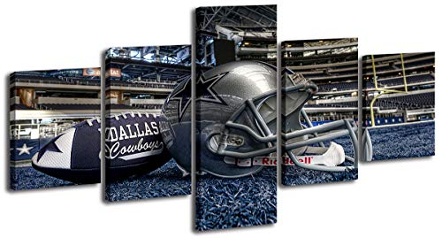 Sports Theme Posters Modern Artwork Decor 5 Piece Football in Stadium Canvas Wall Art Pictures for Bedroom Living Room Office Home Decorations Ready to Hang