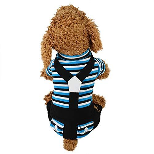 Coversolat Hundepullover Kleine Hunde, Gestreiftes Latzhose Welpen Hund Pullover Hundekleidung für Französische Bulldogge Chihuahua
