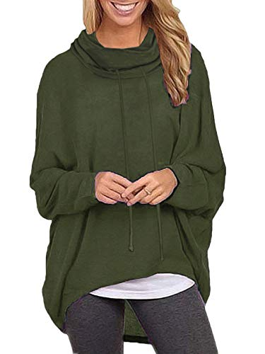 ZANZEA Mujeres Sudaderas Cuello Alto Batwing Manga Larga Irregular Baggy Túnica Blusa Pullover Tops Jersey X-Verde Militar Cuello Alto L