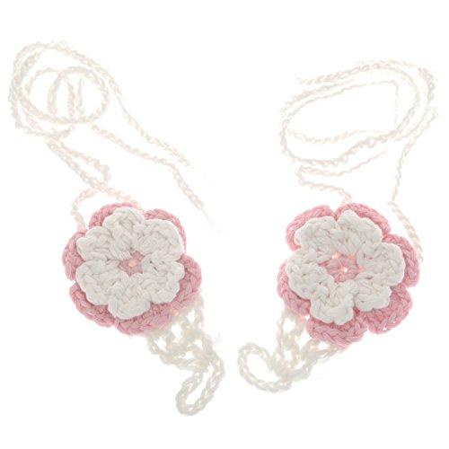 Baby Neugeborene Häkelsandalen Handarbeit Barfuss Blume Schuhe (Rosa + Weiß)