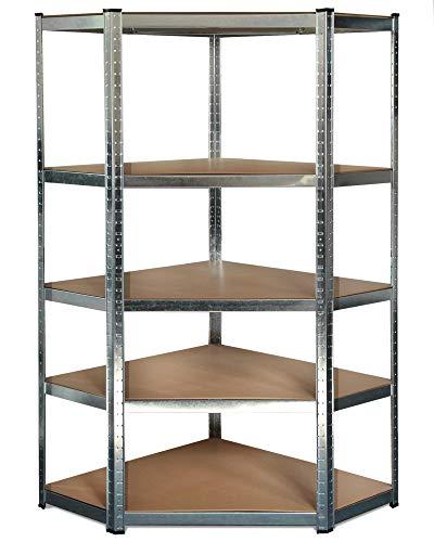Ondis24 Ecklösung Metallregal, Lagerregal 90x90x180(H) cm, Kellerregal 875kg silber, Steckregal mit 5 Einlegeböden höhenverstellbar, Werkstattregal, funktionales Schwerlastregal, verzinkt