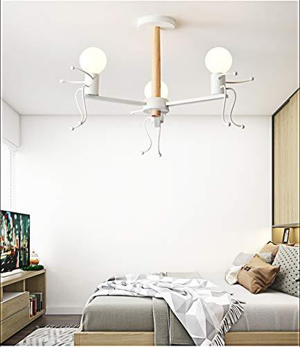 Lampada LED Azanaz da soffitto, Plafoniera con Omini Seduto, Illuminazione da interno carino, Lampadario Moderno Minimalista Nordico per Asilo Nido, Camera Bambini, Bianco E27 (3 luci)